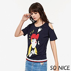 SO NICE夏季趣味女孩露肩針織上衣