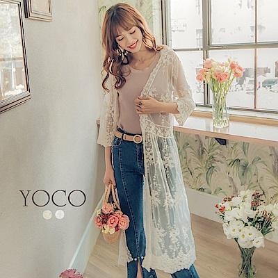 東京著衣-yoco 浪漫輕肌蕾絲長版罩衫外套(共二色)