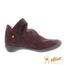 SOFTINOS (女) HAPPY FEET 反摺牛皮踝短靴鞋-紅