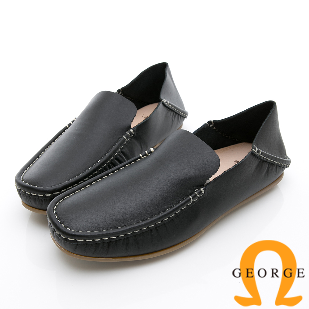 GEORGE 喬治-水洗系列 素面縫線懶人休閒鞋-黑