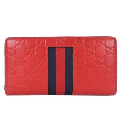 GUCCI Signature GG牛皮壓紋織帶條紋拉鍊長夾(紅)