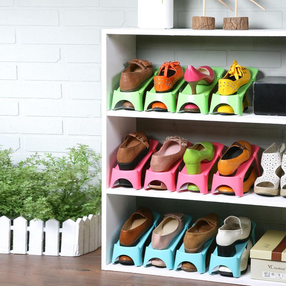 【創意達人】馬卡龍可調式專利鞋架6入(3色可選)