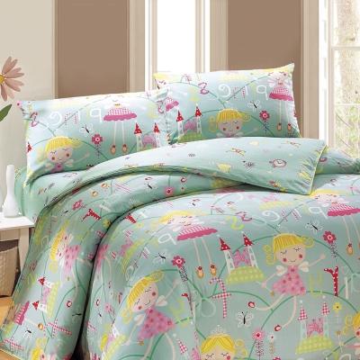 鴻宇 美國棉100%精梳棉 防蟎抗菌 公主城堡綠 單人三件式兩用被床包組