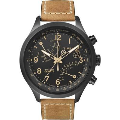 TIMEX 天美時 IQ飛返計時腕錶系列-黑x咖啡/42mm