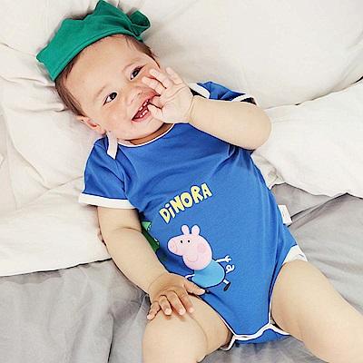 Baby unicorn 藍色佩佩豬短袖包屁衣頭飾組