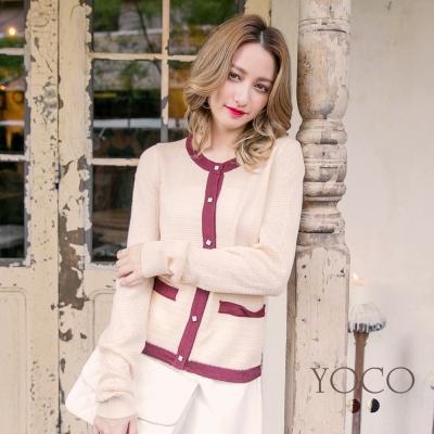 東京著衣-yoco 經典小香撞色假口袋針織外套-S.M.L(共二色)