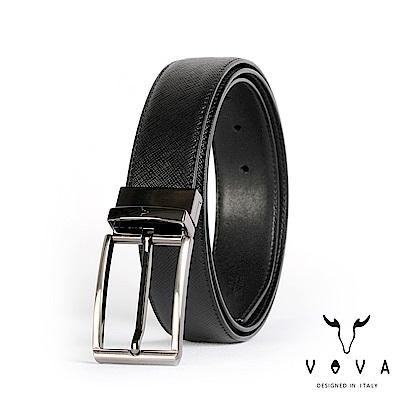 VOVA 紳士方頭穿針式可旋轉十字紋皮帶 - 鎗色
