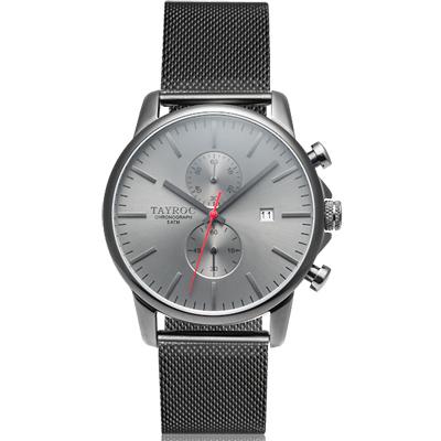 TAYROC 英式簡約時尚米蘭帶計時手錶-黑/43mm
