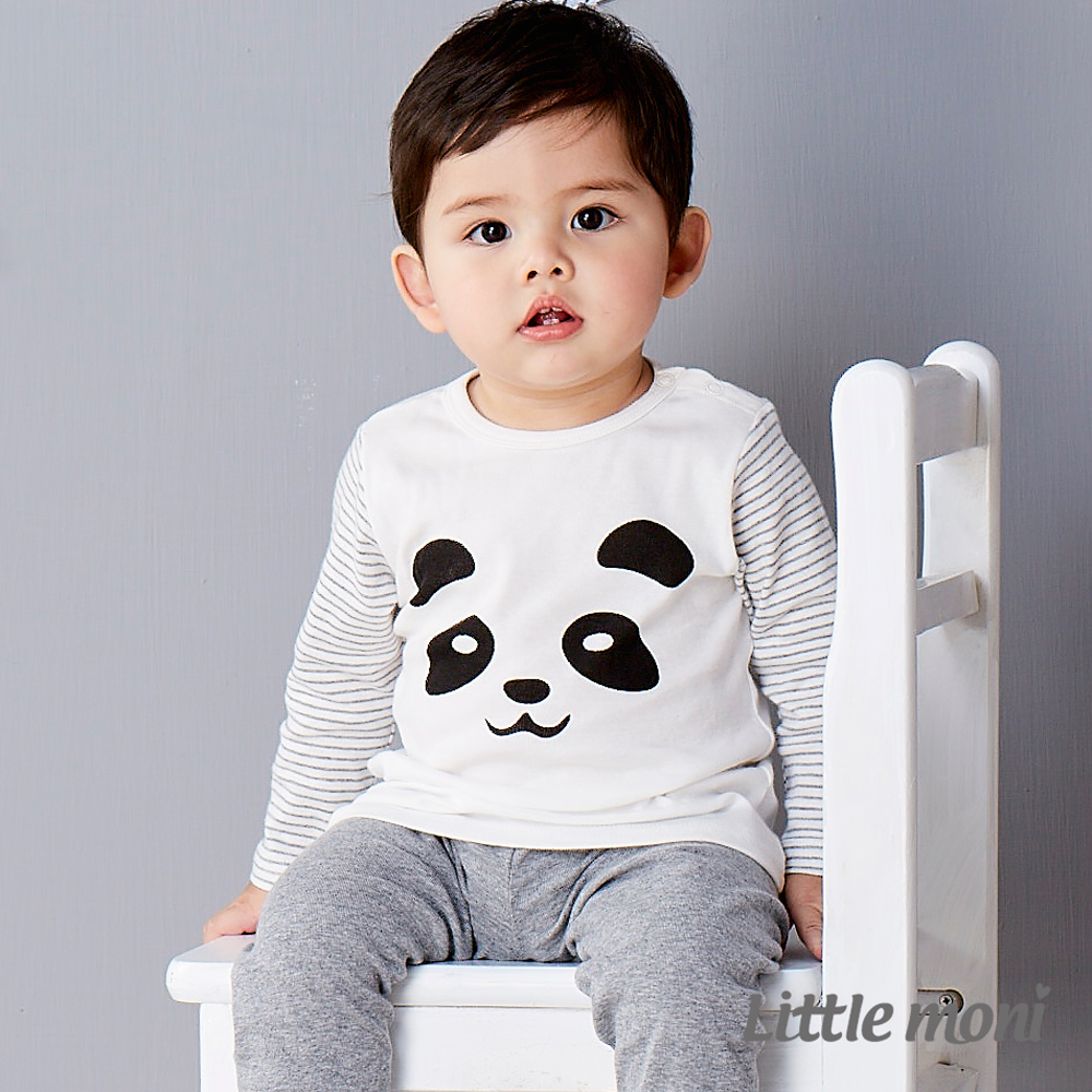 Little moni 純棉家居系列動物印圖上衣 白色