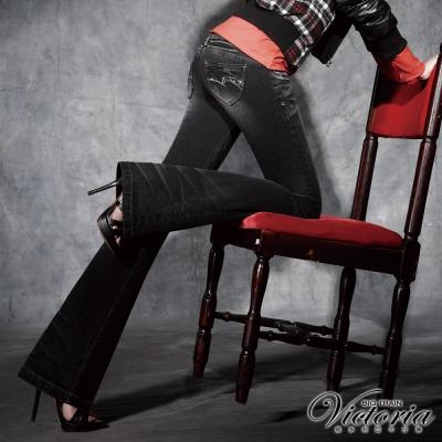 Victoria 銀河彩鑽靴型褲-女-黑灰