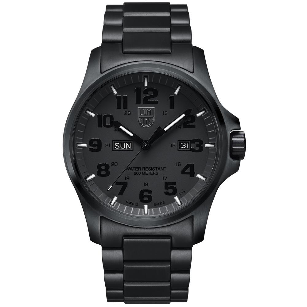 LUMINOX 雷明時 戰場系列藍寶鏡面精鋼腕錶-PVD黑/45mm