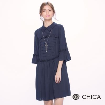 CHICA 波西米亞荷葉浪漫寬袖設計洋裝(1色)