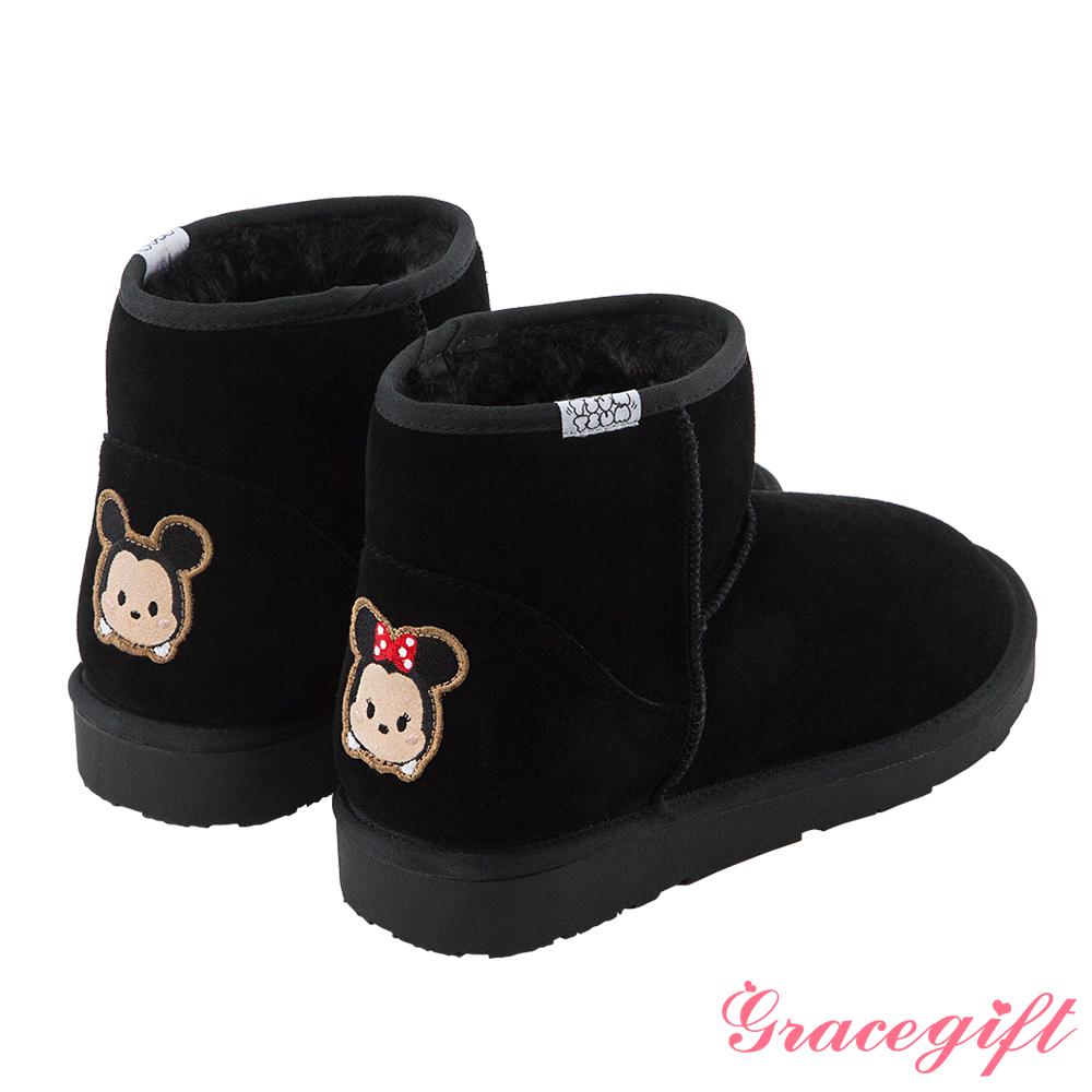 Disney collection by grace gift徽章電繡短筒雪靴 米奇黑