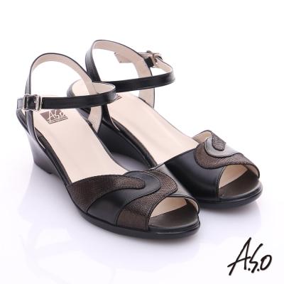 A.S.O 輕旅氣墊 真皮雙材質氣墊涼鞋 黑