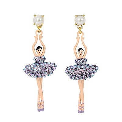 Les Nereides 優雅芭蕾舞女孩系列 珍珠亮鑽芭蕾舞者耳環 耳針式 極光色