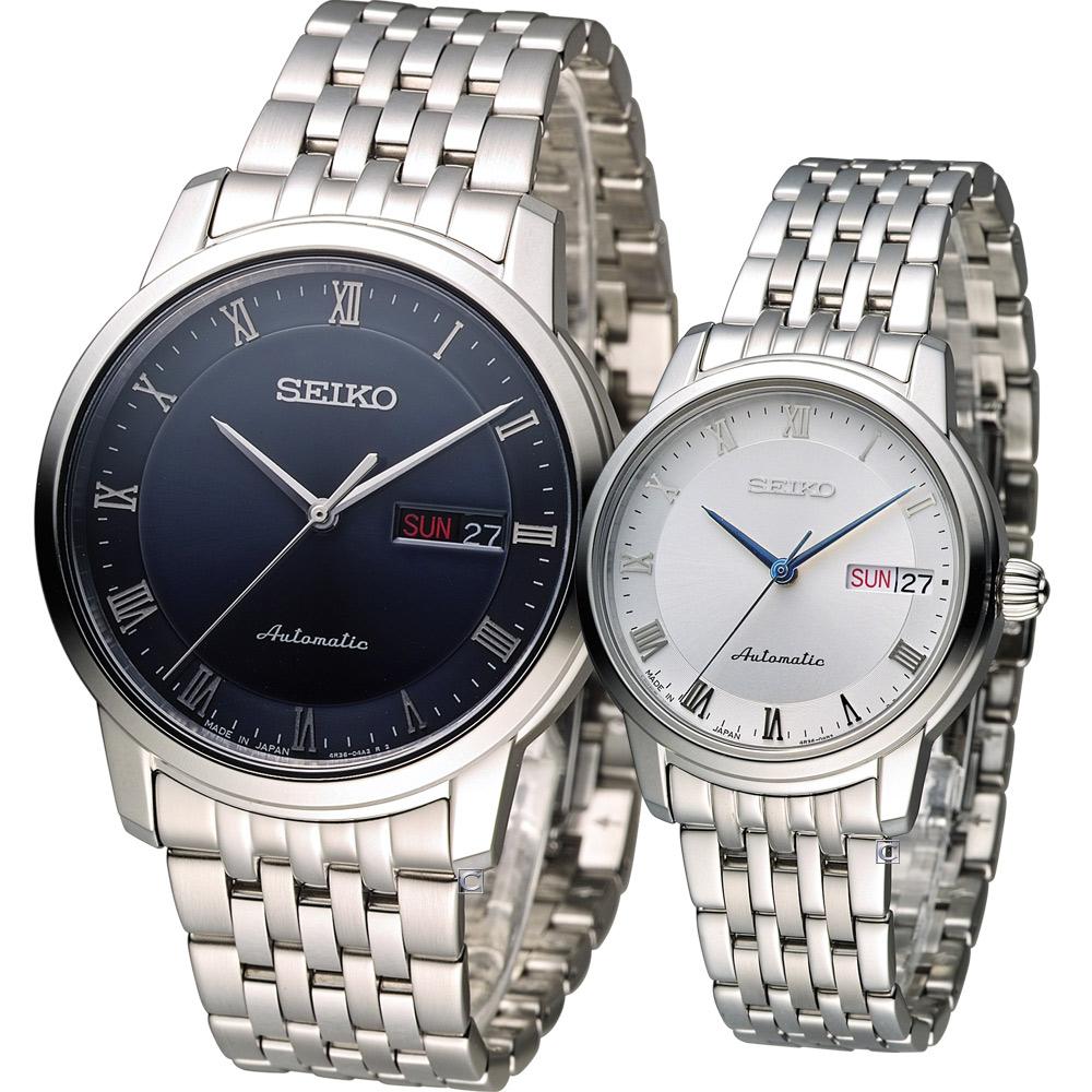 SEIKO Presage 羅馬假期機械對錶-藍x白/39+34mm