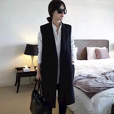 La Belleza修身單釦側斜大口袋翻領西裝布長版背心