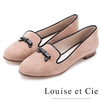 Louise et Cie 麂皮甜美蝴蝶結樂福平底鞋-粉色