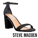 STEVE MADDEN-DECLAIR 一字窄版繞踝粗高跟涼鞋-黑色