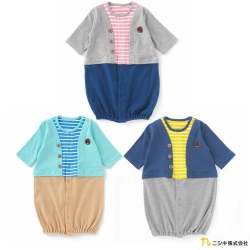 Nishiki 日本株式會社 條紋假兩件兩穿式長袖連身衣