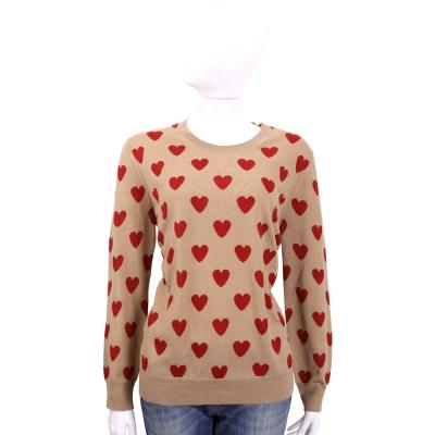 BURBERRY  愛心美麗諾羊毛長袖針織衫(駝色)