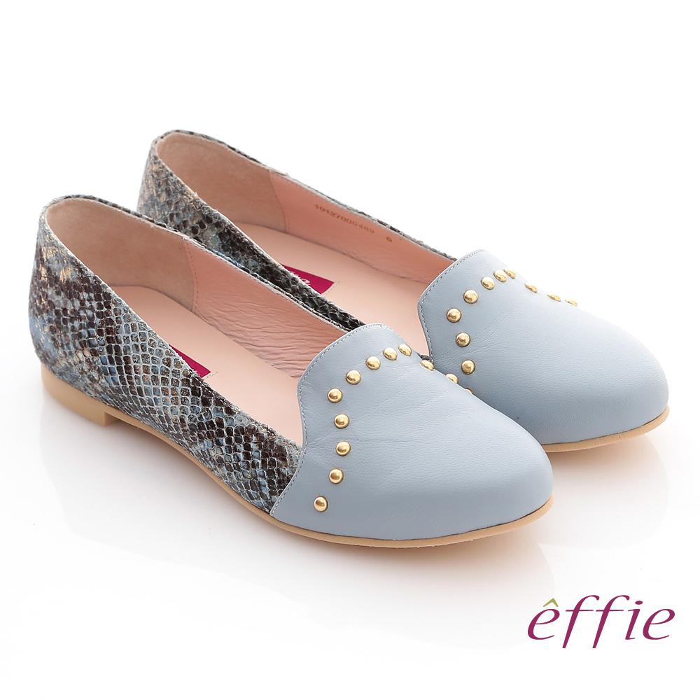 effie 全真皮動物紋壓紋圓鉚釘樂福鞋 淺藍