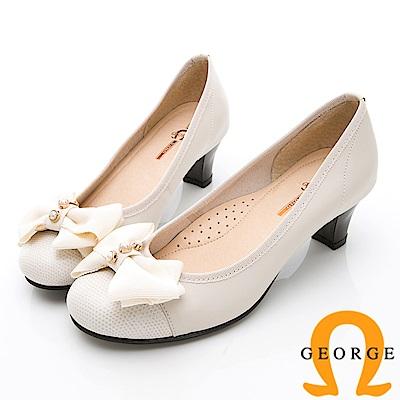 GEORGE 喬治-輕量系列 優雅蝴蝶結淑女鞋低跟鞋-米