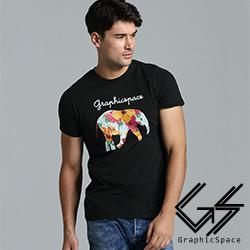 點點花朵大象圖案磨毛水洗T恤(共二色)-GraphicSpace
