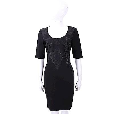VERSACE 圖騰貼飾黑色U領洋裝