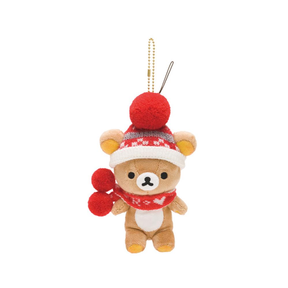 拉拉熊紅粉愛心系列圍巾毛絨公仔吊飾。懶熊