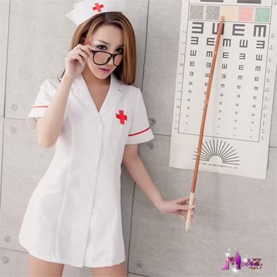 護士服 角色扮演  純白短袍二件式護士服 Moira