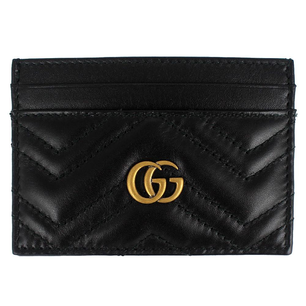 GUCCI Marmont 黑色車縫皮革雙G標誌票卡名片夾GUCCI