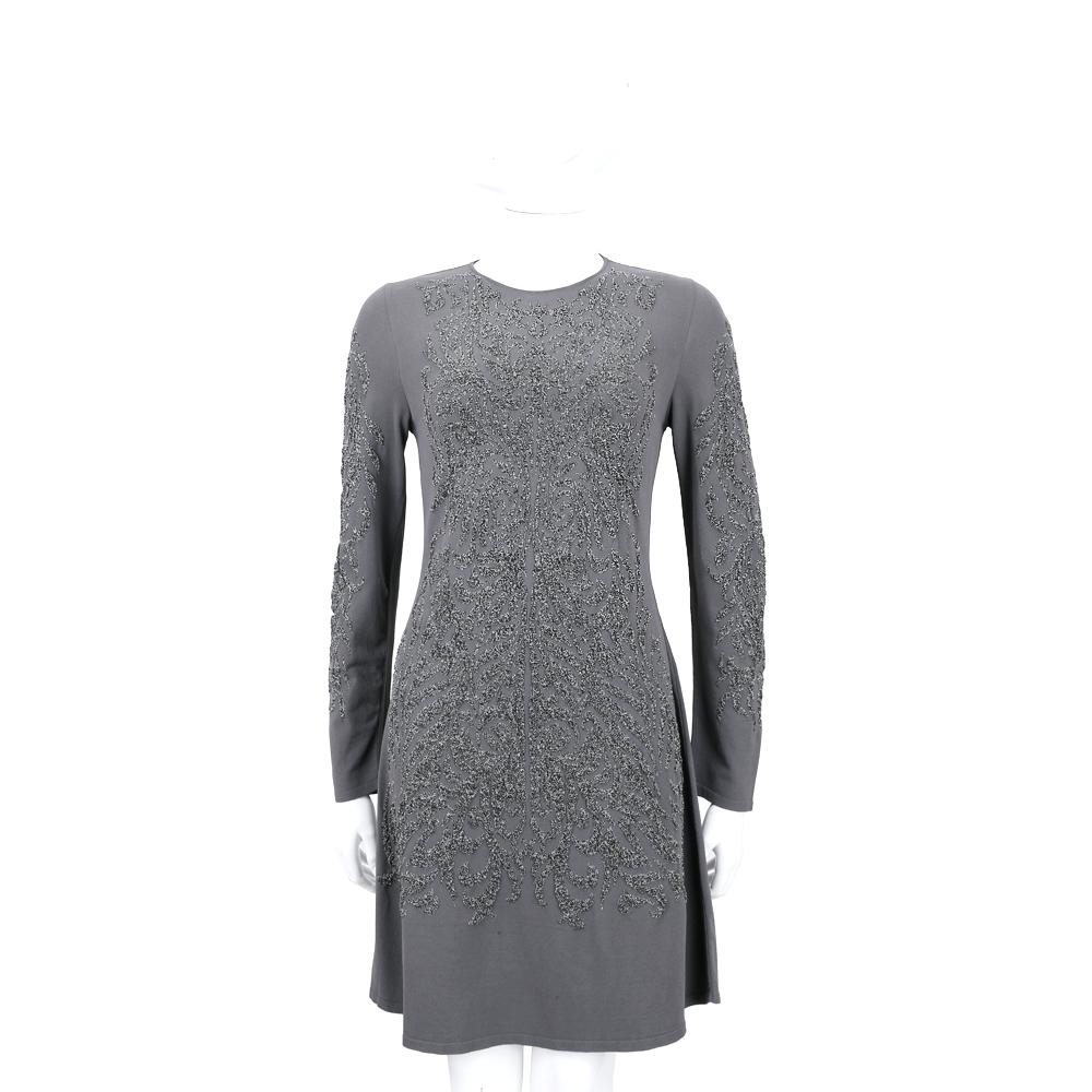ALBERTA FERRETTI 灰色銀蔥圖騰設計長袖洋裝