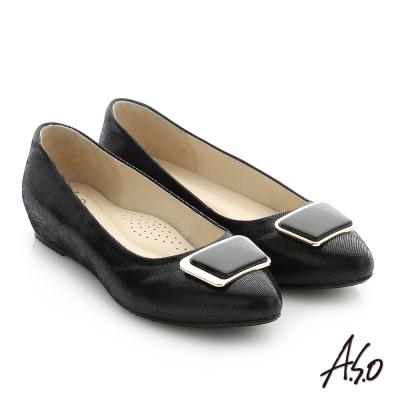 A.S.O 減壓美型 真皮金屬飾釦拼接窩心平底鞋 黑色