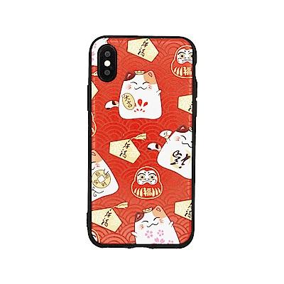 PKG Apple IPHONE X 保護套(2018開運系列-福氣大吉貓-紅)