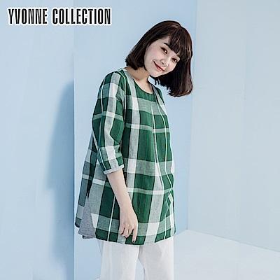 YVONNE棉麻格紋圓領長上衣- 綠