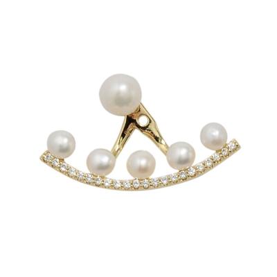 apm MONACO法國精品珠寶 閃耀珍珠鑲鋯扇形金色單邊耳環