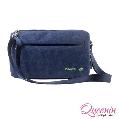 DF Queenin - 韓版高質感旅行專屬側背包-深藍
