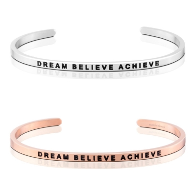 MANTRABAND Dream Believe Achieve 夢想信仰實現 銀X玫瑰金