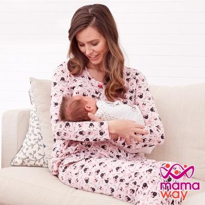 mamaway媽媽餵 滿天星米妮孕哺居家服組(長袖+長褲)