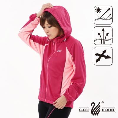 【遊遍天下】女版吸濕排汗透氣抗UV連帽外套GJ10010玫紅
