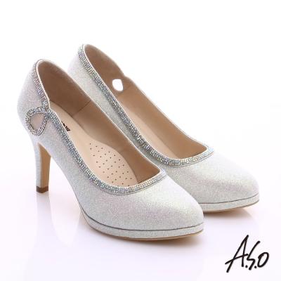 A.S.O 甜蜜樂章 金蔥亮布側縷空鑽飾高跟鞋 銀
