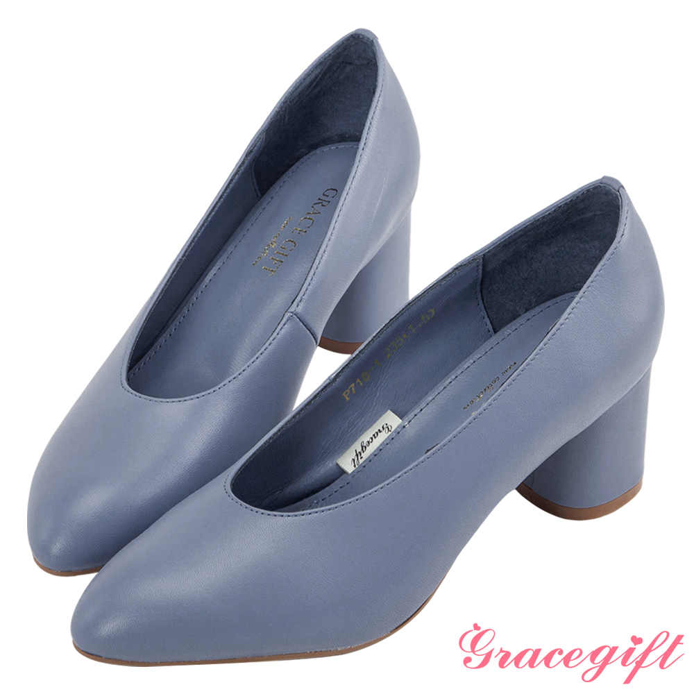 Grace gift-全真皮微尖頭簡約素面跟鞋 藍