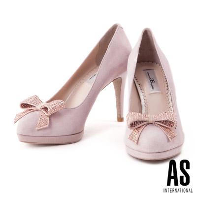 高跟鞋 AS 優雅晶鑽蝴蝶結羊麂皮美型尖頭高跟鞋-粉