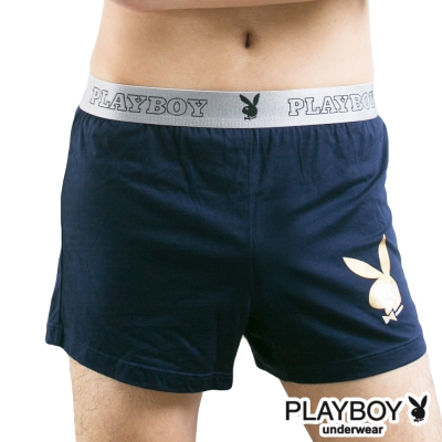 PLAYBOY 燙金兔頭Logo素面針織四角褲-單件-丈青