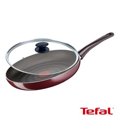 Tefal法國特福 鈦金礦物系列28CM不沾平底鍋+玻璃蓋 (8H)