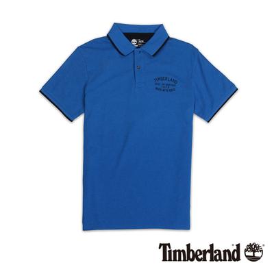 Timberland-男款藍色刺繡雙色短袖Polo衫