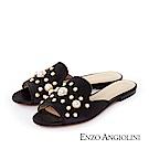 ENZO ANGIOLINI--珍珠裝飾魚口平底涼拖鞋-時髦黑