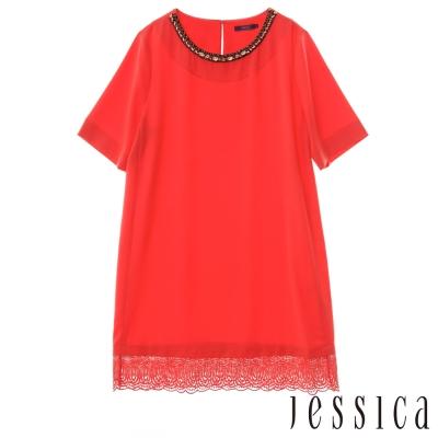 JESSICA - 氣質鑽飾蕾絲造型上衣(紅)
