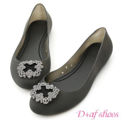 D+AF 名媛焦點.華麗鑽飾果凍防水雨鞋*黑